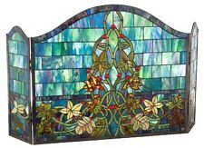 MOSAIC STAINED GLASS FIREPLACE SCREEN * Scrolling Ivy & Leaves / Blues Greens