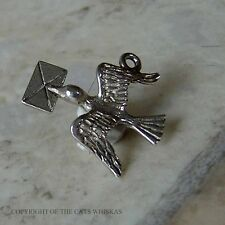 VINTAGE STERLING SILVER BIRD CARRYING A LETTER BRACELET CHARM