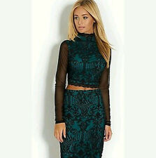 Stunning Lipsy Co-ord Lace Pencil Skirt Long Sleeve Top Size 8 10 £75 Dress Club