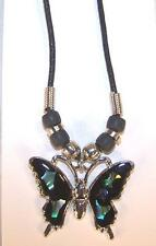 12 LARGE PAUA SHELL BUTTERFLY BLACK ROPE NECKLACE womens ladies jewelry pendant