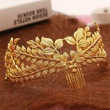 Vintage Gold Plated Leaves Bridal Hair Accessories Wedding Tiara Crown Hair Com
