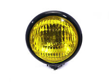 Yellow Glass BLACK Metal Vintage Retro Headlight for BMW Cafe Racer Project Bike