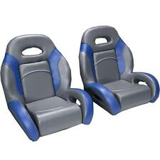 (Pair) Bass Boat Bucket Seats in Charcoal and Blue