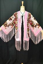 Art to Classic Baby Pink Flower Burnout Velvet Fringe Kimono Coat Duster Short