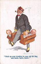 POSTCARD  COMIC  DONALD  McGILL   Pack up your troubles.....