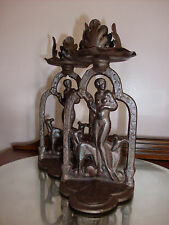 1920 NUDE LADY WITH DOGS CANDLESTICKS art deco  IRON MODERNE ART COLONY INDUSTRY