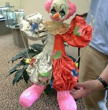 Large Vintage Paper Mache Clown on Trapeze - Signed by Artist  - LN Mexico
