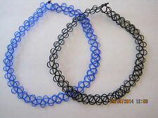 black and blue stretchy tattoo choker neckleces-  boho/retro 80's 90's gotic