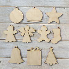 10 Pack Wooden Christmas Tree Decorations Craft Shape Blank Assorted Designs