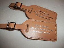 100 NATURAL COLOR Genuine bonded Leather, WEDDINGescort  Luggage Tag   $2.15each