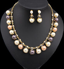 Fashion Jewelry Women Crystal Pendant Chain Choker Collar Bib Pearl Necklace Set