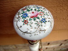 antique floral-Rose PORCELAIN DoorKnob Gold-leaf TULIP CANE walking-stick~copper
