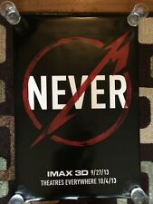 Metalica Through The Never Original Movie Poster 27x40 Double Sided Advance Imax