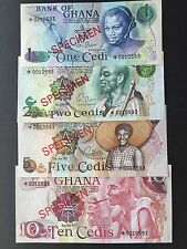 Ghana 1 2 5 & 10 Cedis Set 4 x Specimen Notes Matching Numbers Uncirculated UNC