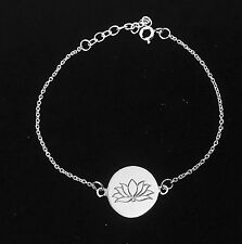 "Sterling Silver Lotus Flower Charm and Chain Bracelet - Adjustable from 6"" - 7"""