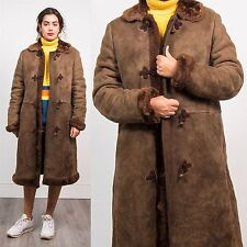 VINTAGE WOMENS SHEEPSKIN SUEDE JACKET COAT CHOCOLATE BROWN DUFFLE FASTEN 14