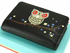 Visconti Owl Applique Ladies Leather Purse Womens Compact Wallet Black - OL71