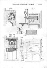 Stampa antica chimica metallurgia DETTAGLI di un IMPIANTO 1848 Old print