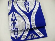 Lovely Vintage Japanese Royal Blue Silk Fukuro-Obi 'Silver Facing Cranes/Waves'