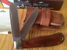 "BEAR &SON JUMBO TRAPPER KNIFE 4-1/2"" LARGE ROSEWOOD HANDLE w LEATHER SHEATH USA"