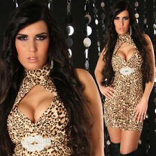 SeXy Miss Neckholder Mini Kleid Glam Strass Dress gold Glitzer 34/36/38 leo