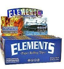 ELEMENTS PERFORATED ROLLING PAPER FILTER TIPS 5 Packsx50 =250 Tips