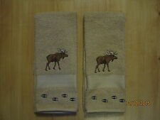 NWT 2 MOOSE with TRACKS Tan Hand Towels, Northwoods, cabin decor.