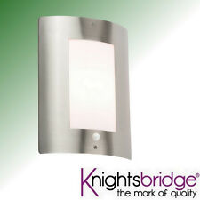 Knightsbridge Outdoor Decorative Garden Wall Light Stainless Steel PIR Sensor
