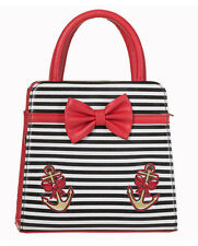Banned 50s Rockabilly Stripe Anchor Hello Sailor Bow Purse Handbag Bag Black Red