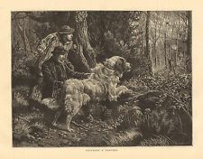 Newfoundland Dog, Hunting, Catching A Poacher, Vintage 1874 Antique Art Print