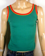 vtg 70s 80s soft thin Green/Yellow/Red Tank T-Shirt Reggae Rastafari jamaica S