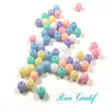 100 Mix Bijoux Perles Rondes 6mm en Acrylique tons Pastels Multicolores