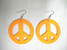 NEW HOT BRIGHT NEON ORANGE PEACE SIGN SYMBOL DANGLING WOODEN HOOP EARRINGS