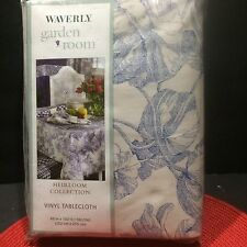 Vinyl Tablecloth Waverly Garden Toile Blue Oblong Large 60x102 inches Heirloom