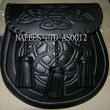 Celtic Embossed Scottish Black Sporran With Chain And Belt