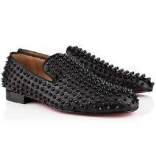 AUTH Christian Louboutin ROLLERBOY SPIKES FLAT Calf Loafers 40.5 US 8 $1395