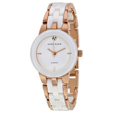 Anne Klein White Dial Rose Gold-tone and White Ceramic Ladies Watch 1610WTRG