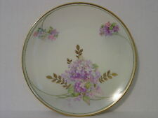 """VINTAGE BAVARIA PLATE WITH PURPLE AND PINK LILACS AND GOLD LEAVES 1473 7-1/2"""""""