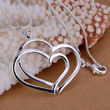 Fashion 925 Sterling Silver Charm Heart Pendant Beautiful women Necklace P108