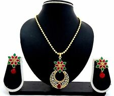 Latest Indian Bollywood Designer Kundan Pearl CZ Bridal Necklace Earrings Set