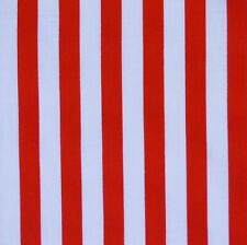 Red & White 11mm Stripe Polycotton Fabric Pirate *Per Metre*