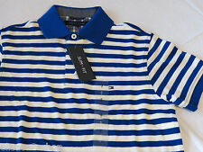 Men's Tommy Hilfiger Polo shirt stripe knit logo 7845165 Nile Blue 431 L Slim Ft