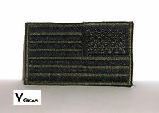 US USA American Flag patch REVERSE SUBDUED OLIVE GREEN & BLACK *BUY 2 GET 1 FREE