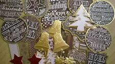 Great Lot Of 30 Scrapbooking Gold Christmas Embellishments (Crafting Lot)