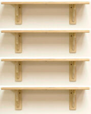 4 x Natural Wood Pine Shelf Kit 585mm Unfinished Storage Shelves Rounded Edge
