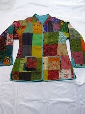 OLD VINTAGE IKAT SILK PATCHWORK COTTON QUILTED REVERSIBLE JACKET COAT FOR WOMEN