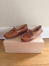 Prada Crocodile Stamped Leather Driving Shoes 36.5