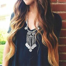 Boho Gypsy Tribal Antique Silver Tassel Coin with Black Beads Statement Necklace