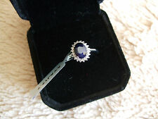 BLUE SAPPHIRE & WHITE TOPAZ STERLING SILVER RING ATGW 1.77CTS   SIZE 5 J/K