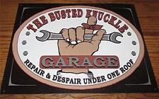 "WHIMSICAL ""BUSTED KNUCKLE GARAGE REPAIR & DESPAIR UNDER ONE ROOF"" TIN WALL SIGN"